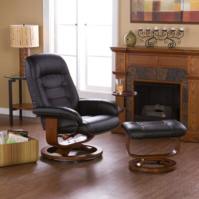 Wildon Home ® Shaw Leather Ergonomic Recliner and Ottoman