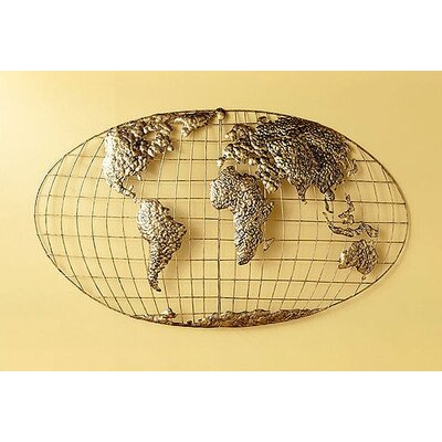 Wildon Home ® Poole World Map Wall Sculpture