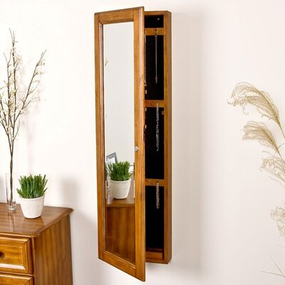 "Wildon Home ® Bullock 48"" High Wall Mount Jewelry Mirror in Oak"