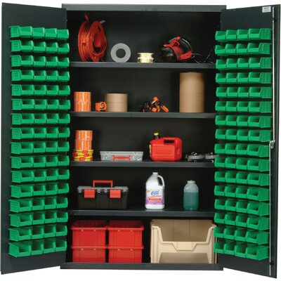 "Quantum Storage 48"" Wide Welded Storage Cabinet with 128 Ultra Bins"