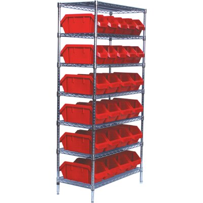 Quantum Storage Quick Pick Bins Wire Shelving Unit with 26 Small Bins with Optional Mobile Kit