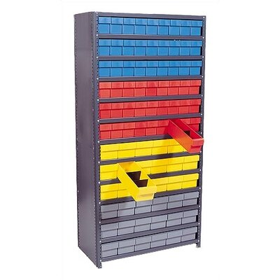 "Quantum Storage Closed Shelving Storage System with Euro Drawers (39"" H x 36"" W x 18"" D)"
