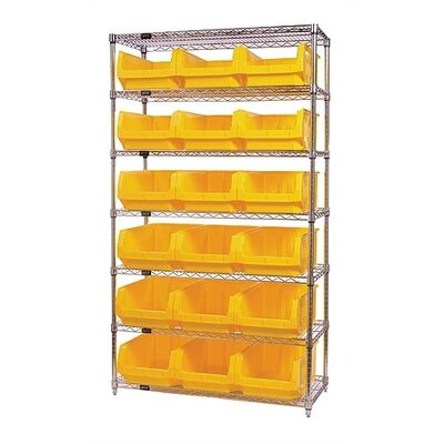Quantum Storage Q-Stor 7 Shelf Unit with Magnum Bins (74&quot; H x 42&quot; W x 18&quot; D) with Optional Mobile Kit