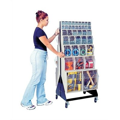 "Quantum Storage 48"" Mobile Double Sided Floor Stand Storage Unit with Tip Out Bins"