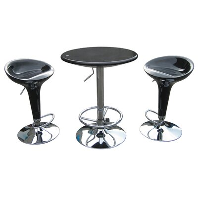 Boraam Industries Inc Luna Adjustable 3 Piece Pub Set in Black