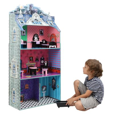 Teamson Kids Modern Spooktacular Doll House with Furniture