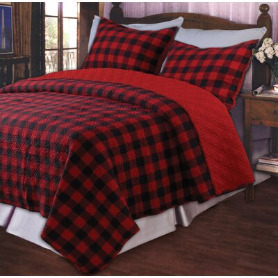 Western Plaid Red Quilt Set