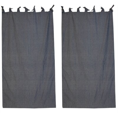 Patch Magic Blue Light Denim Cotton Tab Top Bed Curtain Single Panel