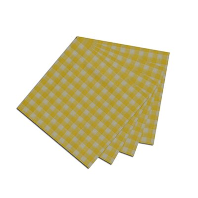 Patch Magic Yellow Pale and White Checks Napkin (Set of 4)