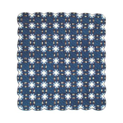 Patch Magic Blue Double Wedding Ring Luxury Quilt