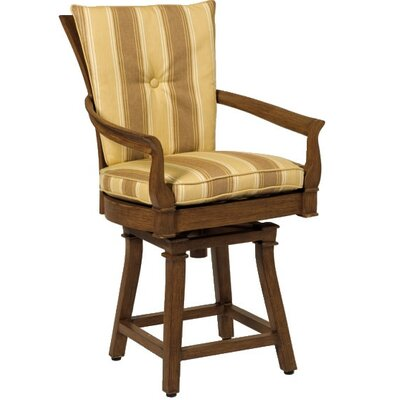Woodard Landgrave Vienna Swivel Bar Stool with Seat and Back Cushions