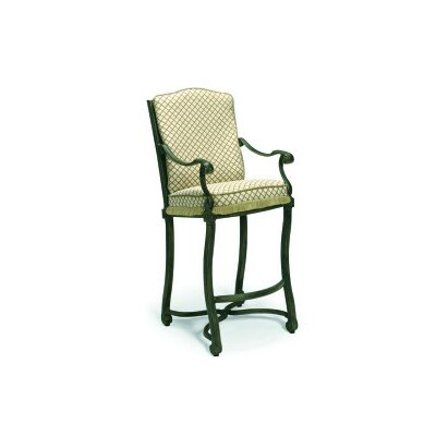 Woodard Landgrave Villa Small Stationary Bar Stool with Cushions