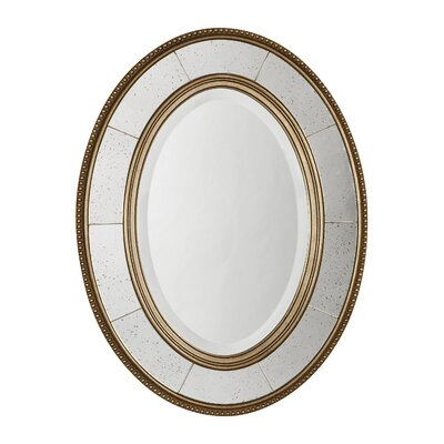 Lara Oval Beveled Mirror in Antiqued Silver Leaf