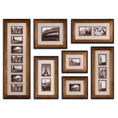 Uttermost Newark Photo Collage Wall Art in Antiqued Gold (Set of 7)
