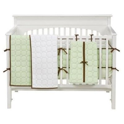 Bacati Quilted Circles 4 Piece Crib Set in White and Chocolate