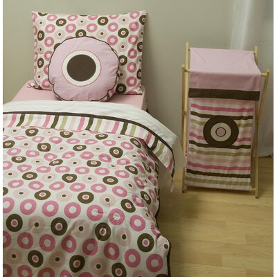 Bacati Mod Dots and Stripes Pink and Chocolate Toddler Bedding Collection