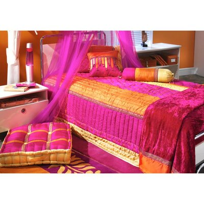 Bacati Tangerine Orange and Fuchsia Bed Canopy