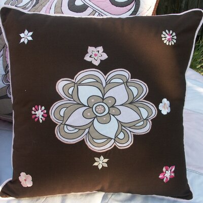 Bacati Retro Flowers Embroidered Pillow