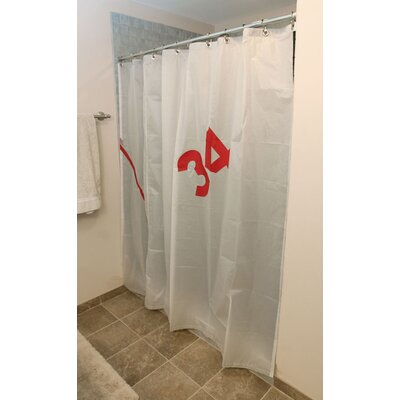 Ella Vickers Spinnaker Shower Curtain in White Sailcloth with Red ...