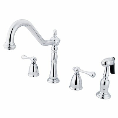 Elements of Design Heritage Double Handle Widespread Kitchen Faucet with Buckingham Lever Handles