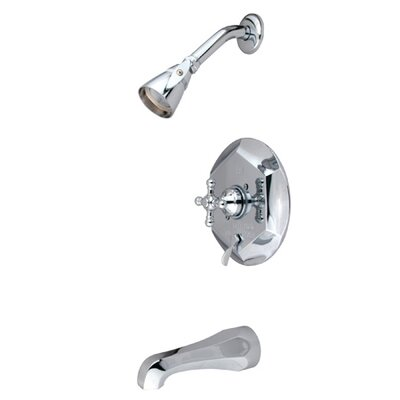 Elements of Design Volume Control Tub and Shower Faucet with Buckingham Cross Handles