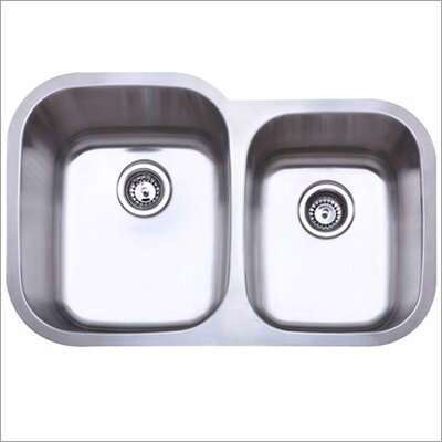 "Elements of Design 31.5"" x 20.5"" Gauge Undermount Double Bowl Kitchen Sink"