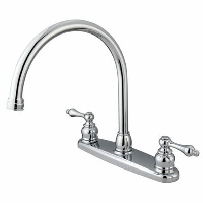 Elements of Design Victorian Double Handle Centerset Goose Neck Kitchen Faucet with Metal Handles