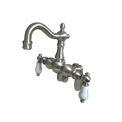 Elements of Design Hot Springs Double Handle Wall Mount Clawfoot Tub Faucet Trim Porcelain Lever Handle