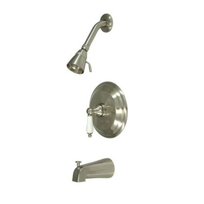 Elements of Design Vintage Thermostatic Pressure Balanced Tub and Shower Faucet with Solid Brass Shower Head with Porcelain Lever Handles