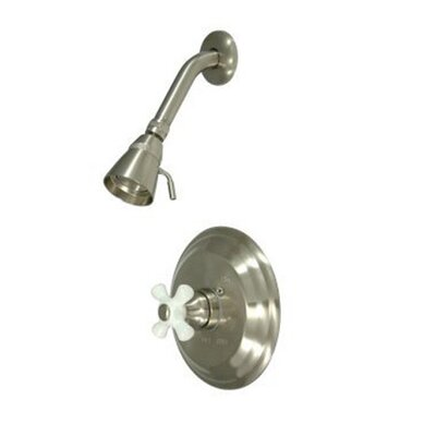Elements of Design Vintage Thermostatic Pressure Balanced Shower Faucet with Porcelain Cross Handles