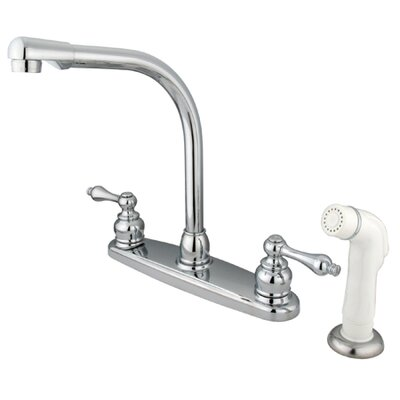 Victorian Double Handle Centerset High Arch Kitchen Faucet with Metal Lever Handles and White ...