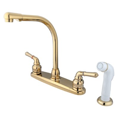 Elements of Design Magellan Double Handle Centerset Kitchen Faucet with Modern Lever Handles and White Side Spray