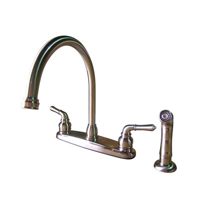 Elements of Design Magellan Double Handle Centerset Kitchen Faucet with Brass Lever