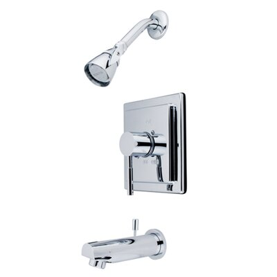 Elements of Design Brass Volume Control Tub Shower Faucet with Metal Lever Handles