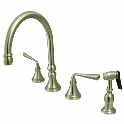 Deck Mount Double Handle Widespread Kitchen Faucet with Metal Lever Handle