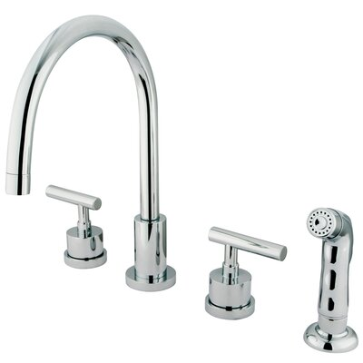Manhattan Double Handle Single Hole Widespread Kitchen Faucet with Non-Metallic Sprayer