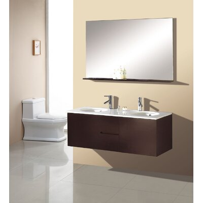 "Virtu Matteo 51"" Double Sink Bathroom Vanity Set in Espresso"