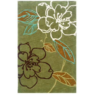 Linon Rugs Trio Space Dyed Green/Brown Rug
