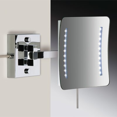 Wall Mount 3X Magnifying LED Mirror with Two Arm Direct Wired and Sensor