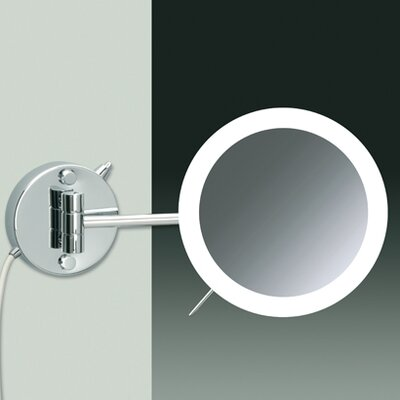 Wall Mount 3X Magnifying LED Mirror with Direct Wired One Arm and Sensor
