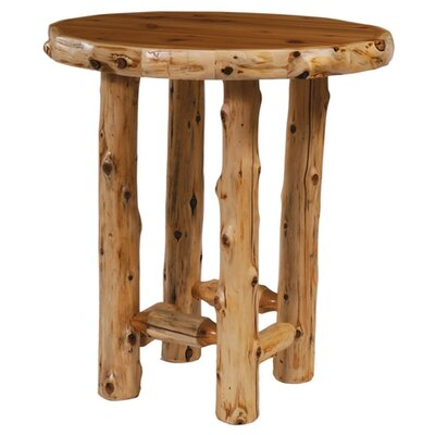Traditional Cedar Log Round Pub Table and Barstool with Back