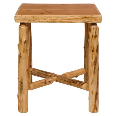 Traditional Cedar Log Square Pub Table and Tenoned Leg Rests Barstool Set