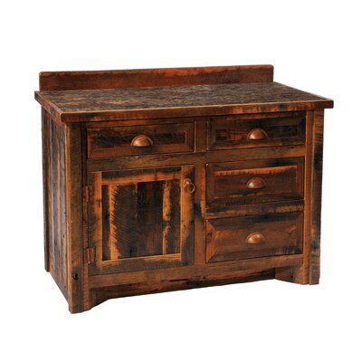 "Fireside Lodge Reclaimed Barnwood 60"" Bathroom Vanity Base"