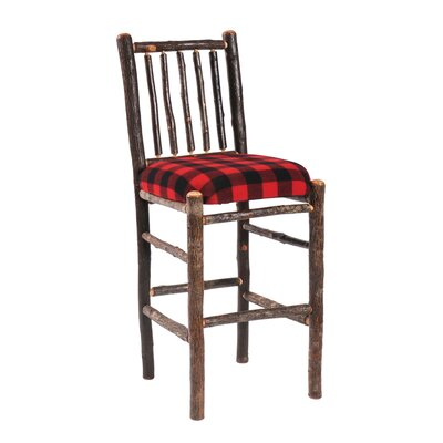 Fireside Lodge Hickory Pub Table and Upholstered Seat Barstool Set