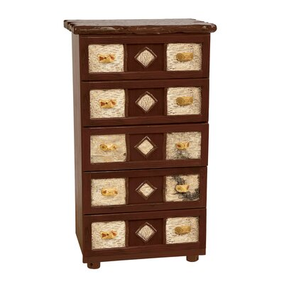 Fireside Lodge Traditional Cedar Log 5 Drawer Chest