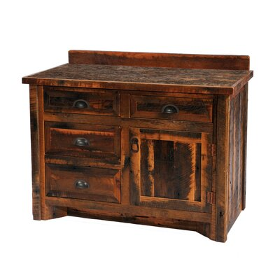 "Fireside Lodge Reclaimed Barnwood 30"" Bathroom Vanity Base"
