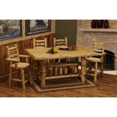 Fireside Lodge Cedar Log 5 Piece Counter Height Dining Set