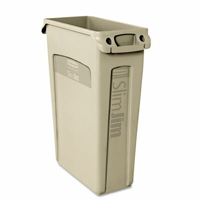 Rubbermaid Slim Jim Receptacle with Venting Channels, Rectangular, 23gal, Beige