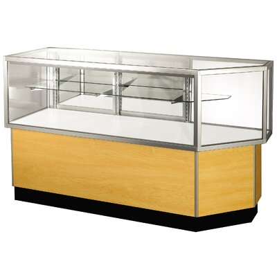 "Sturdy Store Displays Streamline 38"" x 80"" Half Vision Corner Combination Showcase with Panel Back"