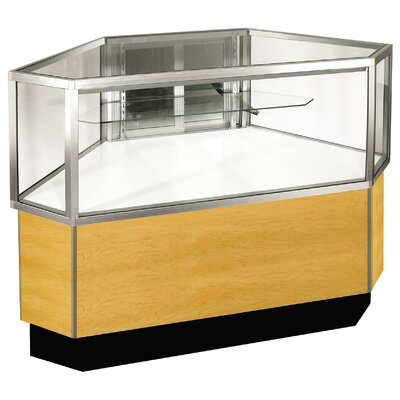"Sturdy Store Displays Streamline 38"" x 34"" Half Vision Outside Corner Showcase with Panel Back"